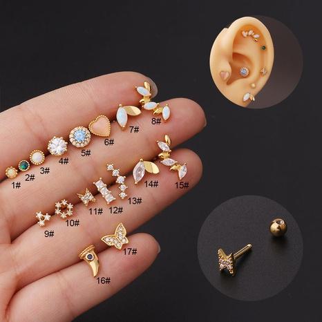 Moda geométrica titanio acero zirconio pendientes al por mayor Nihaojewelry NHEN431782's discount tags