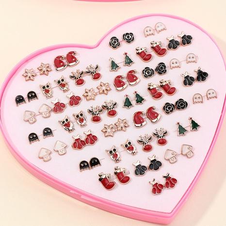 Boucles d'oreilles d'huile dégoulinantes d'alliage de Noël de dessin animé 36 paires ensemble en gros Nihaojewelry NHNZ431810's discount tags