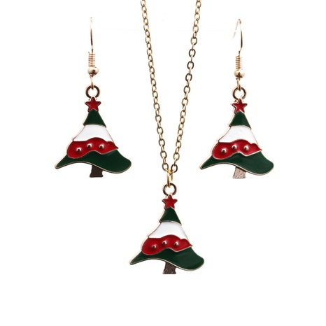 Fashion Color Oil Dripping Christmas Tree Earrings Necklace Set Wholesale Nihaojewelry NHYL431891