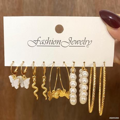 Boucles d'oreilles serpent papillon perle de mode ensemble de 5 pièces en gros Nihaojewelry NHHER431933's discount tags