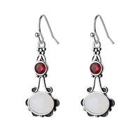 new white Moonstone pendent long silver earrings wholesale Nihaojewelry  NHKL431256