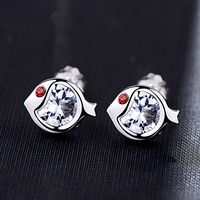 Korean sterling silver inlaid diamodn fish shaped earrings wholesale Nihaojewelry  NHKL431257