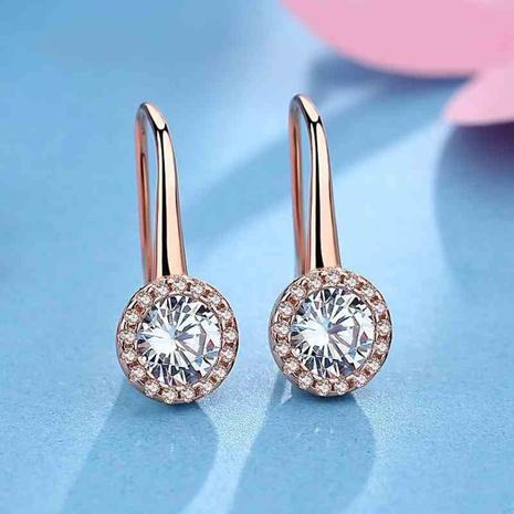 new round inlaid zircon sterling silver earrings wholesale Nihaojewelry  NHKL431258