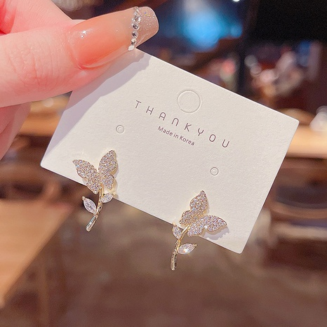 Mode Mikro eingelegter Zirkon Schmetterling Kupfer Ohrringe Großhandel nihaojewelry NHQYF432407's discount tags
