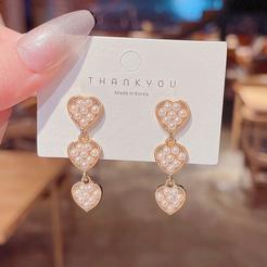 Modeherz eingelegte Perle geometrische Ohrringe Großhandel nihaojewelry NHQYF432409