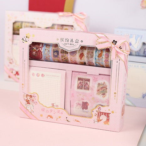 colorful gift box series paper tape sticker note pad set hand account material wholesale NHDW432501's discount tags