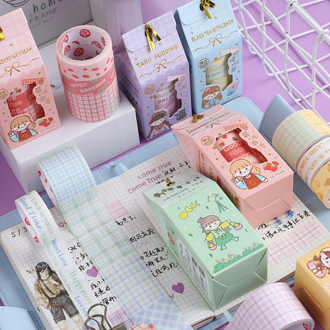 Lattice Guess Box Handbook Paper Tape Blind Box Creative Cute Stickers Stationery Surprise Box Decoration Sticker NHDW432514's discount tags