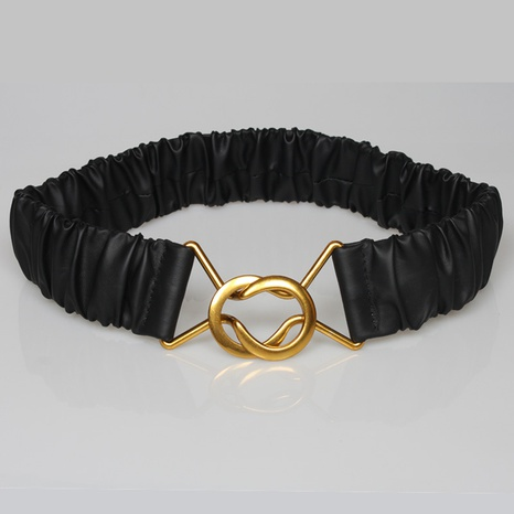 fashion simple horseshoe buckle solid color pleated belt wholesale Nihaojewelry NHJSR432652's discount tags