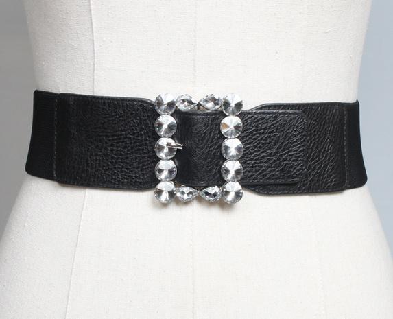 simple elastic square buckle rhinestone wide girdle wholesale Nihaojewelry  NHJSR432681's discount tags