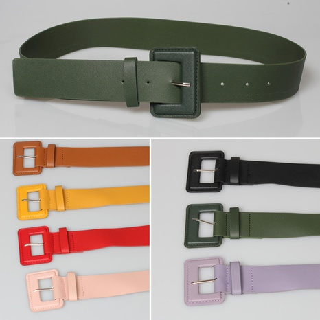 Simple geometric pin buckle solid color belt wholesale Nihaojewelry  NHJSR432686's discount tags