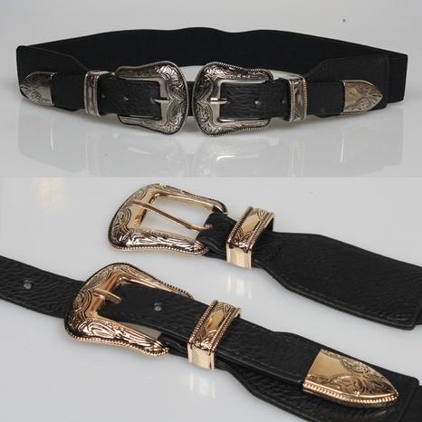 Retro-geometrische geschnitzte doppelköpfige Schnalle elastischer Gürtel Großhandel Nihaojewelry NHJSR432723's discount tags