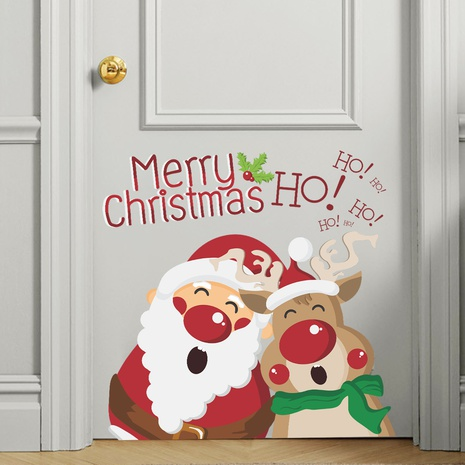Merry Christmas Santa Claus Fawn Window Glass Decoration Wall Sticker Wholesale Nihaojewelry  NHAF432781's discount tags