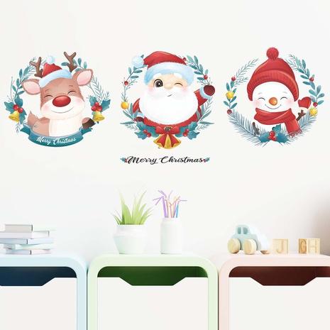 New santa claus deer snowman wreath wall window glass decoration sticker wholesale Nihaojewelry NHAF432782's discount tags