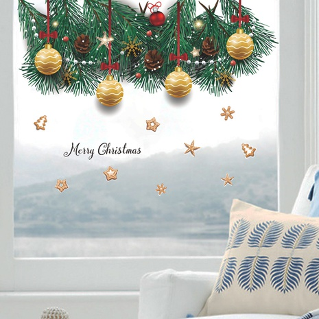 Christmas pine cypress branch biscuit golden ball decoration wall sticker wholesale Nihaojewelry  NHAF432785's discount tags