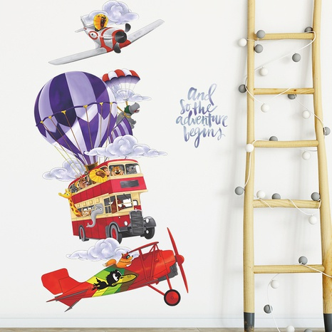 Hot Air Balloon Helicopter Airplane Bus Clouds Wall Sticker Wholesale Nihaojewelry  NHAF432791's discount tags