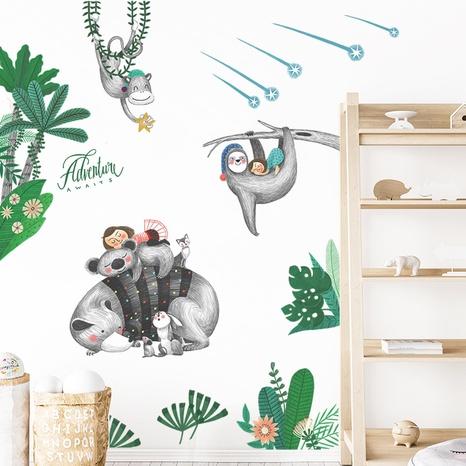 New Cartoon Raccoon Tropical Green Plants Children's Bedroom Wall Sticker Wholesale Nihaojewelry  NHAF432792's discount tags