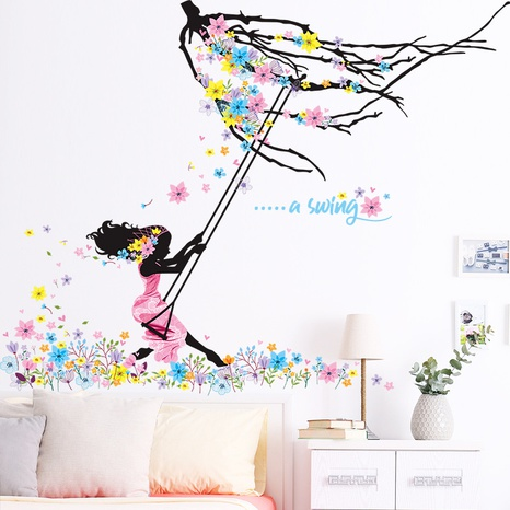 New Girl Swing Flower Branch Bedroom Entrance Home Wall Sticker Wholesale Nihaojewelry  NHAF432794's discount tags