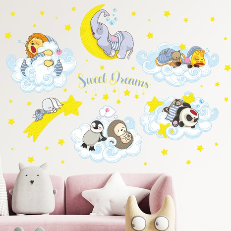 New Moon Star Clouds Small Animal Good Night Children's Bedroom Sticker Wholesale Nihaojewelry  NHAF432795's discount tags