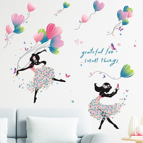 New Dancing Girl Balloon Flower Butterfly Bedroom Entrance Wall Sticker Wholesale Nihaojewelry  NHAF432797's discount tags