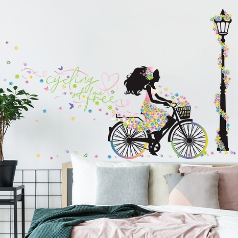 New Cyclist Girl Street Light Flower Bedroom Entrance Decoration Wall Sticker Wholesale Nihaojewelry  NHAF432798's discount tags