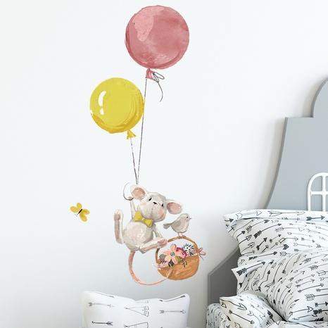 Cartoon Little Mouse Balloon Flower Basket Bird Children's Bedroom Wall Sticker Wholesale Nihaojewelry  NHAF432801's discount tags
