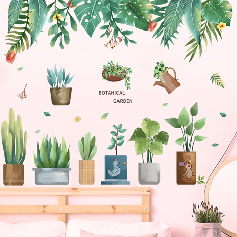 New tropical green plant potted succulent leaf bedroom porch wall sticker wholesale Nihaojewelry  NHAF432802's discount tags