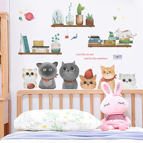 cartoon cute kitten potted book green plants home decoration wall sticker wholesale Nihaojewelry  NHAF432803's discount tags