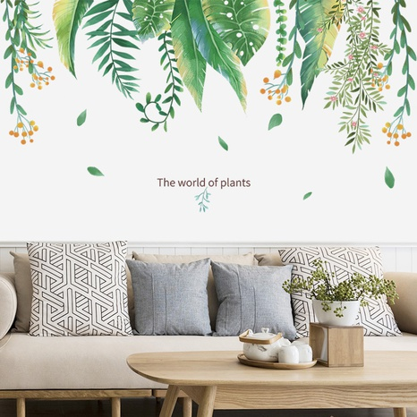 New tropical green plants leaves flowers home decoration wall stickers wholesale Nihaojewelry  NHAF432806's discount tags