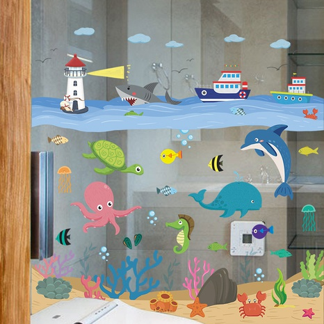 Cartoon Ocean World Octopus Whale Sea Tower Water Grass Wall Sticker Wholesale Nihaojewelry  NHAF432807's discount tags