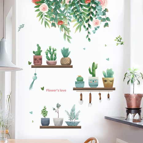 New Succulent Potted Plant Leaves Flowers Bedroom Entrance Wall Sticker Wholesale Nihaojewelry  NHAF432808's discount tags