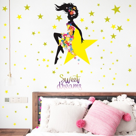 New Girl Star Flower Bedroom Entrance Home Decoration Sticker Wholesale Nihaojewelry  NHAF432810's discount tags