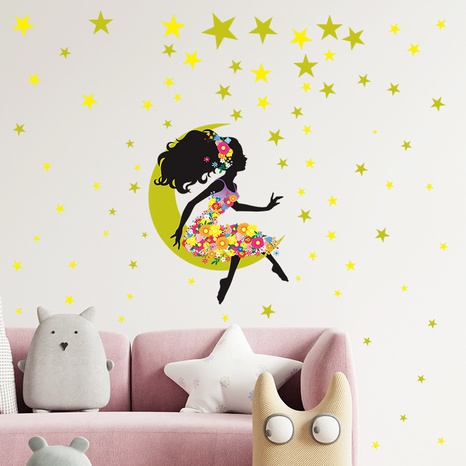 New beautiful girl star moon flower bedroom porch wall stickers wholesale Nihaojewelry  NHAF432812's discount tags