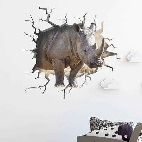 New Cartoon Broken Wall Fierce Rhino Layout Decoration Sticker Wholesale Nihaojewelry  NHAF432815's discount tags