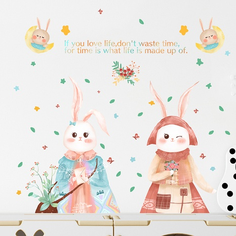 New cartoon cute two little rabbits children's room decoration wall stickers wholesale Nihaojewelry  NHAF432818's discount tags
