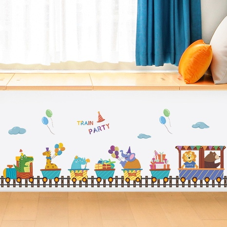 Cartoon train party lined up children's room decoration wall sticker wholesale Nihaojewelry  NHAF432820's discount tags