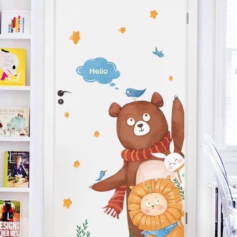 Cartoon Bear Lion HELLO Children's Room Door Wall Sticker Wholesale Nihaojewelry  NHAF432821's discount tags