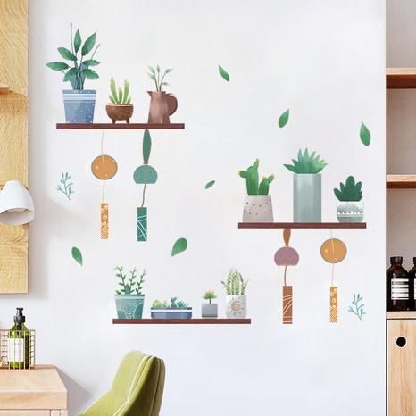 Cartoon Succulent Potted Plants Hanging Spike Decoration Wall Sticker Wholesale Nihaojewelry  NHAF432822's discount tags