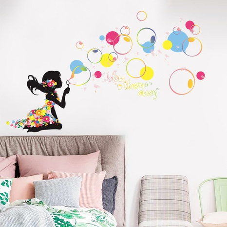 New little girl blowing bubbles color children's room decoration wall stickers wholesale Nihaojewelry  NHAF432823's discount tags