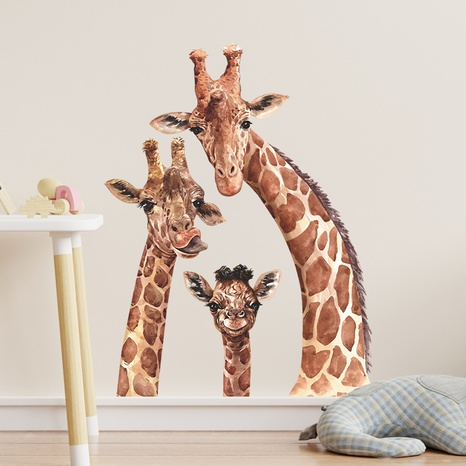 New cartoon giraffe family of three bedroom porch decorative wall stickers wholesale Nihaojewelry  NHAF432824's discount tags