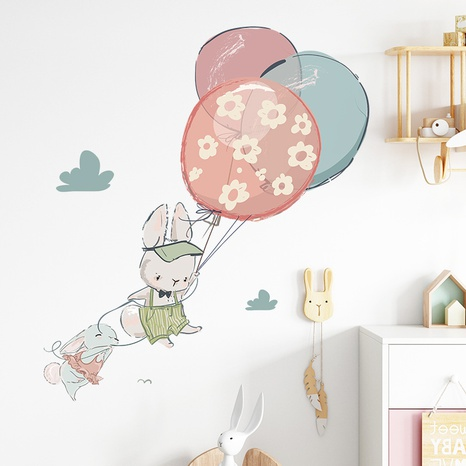 cartoon cute bunny hot air balloon bedroom decoration wall sticker wholesale Nihaojewelry  NHAF432827's discount tags