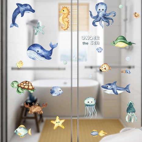 Cartoon seabed whale turtle octopus seahorse children's bedroom wall stickers wholesale Nihaojewelry  NHAF432828's discount tags