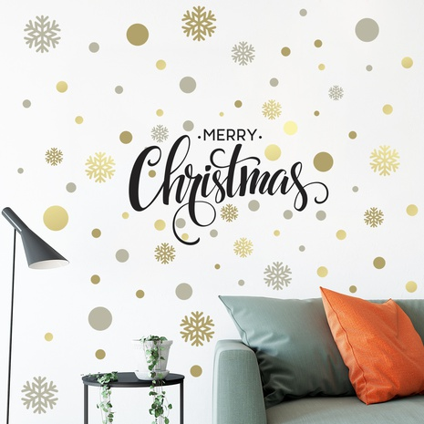 New Merry Christmas Snowflake Gold Silver Decoration Wall Sticker Wholesale Nihaojewelry  NHAF432829's discount tags