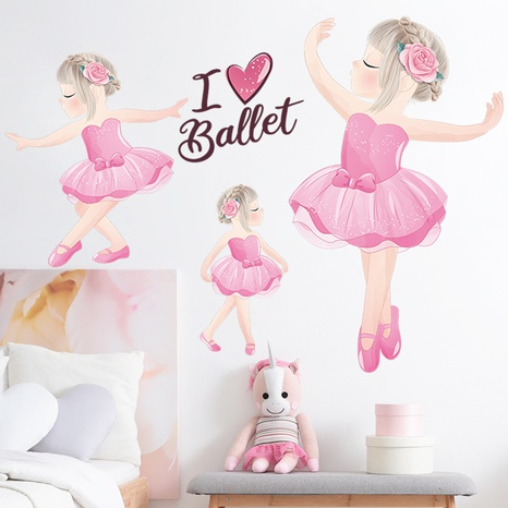 New cartoon cute dancing girl bedroom entrance decoration wall sticker wholesale Nihaojewelry  NHAF432830's discount tags