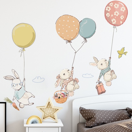 New Bunny Balloon Bird Children's Bedroom Entrance Decorative Wall Sticker Wholesale Nihaojewelry  NHAF432833's discount tags