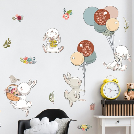 Cartoon Bunny Balloon Flowers Children's Bedroom Entrance Wall Sticker Wholesale Nihaojewelry  NHAF432834's discount tags