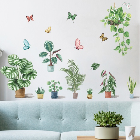 New potted succulent turtle back leaf hanging basket butterfly wall sticker wholesale Nihaojewelry  NHAF432836's discount tags