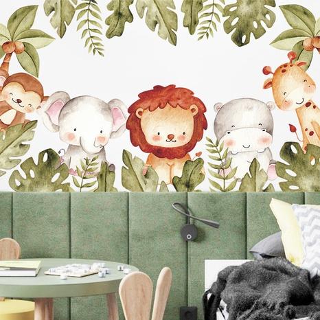 New Cartoon Lion Elephant Monkey Giraffe Green Plants Wall Sticker Wholesale Nihaojewelry  NHAF433402's discount tags