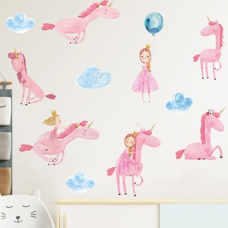 Cartoon Cute Princess White Horse Balloon Cloud Wall Sticker Wholesale Nihaojewelry  NHAF433403's discount tags