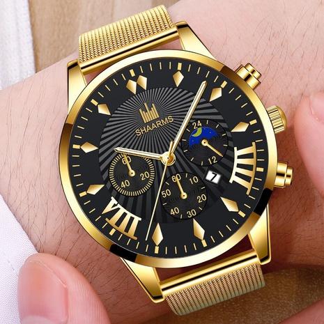 men's watch fashion mesh belt men's watch simple scale casual watch three-eye calendar quartz watch NHHK434136's discount tags