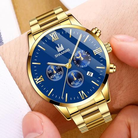 wholesale fashion steel band men's watch sun moon and stars Roman scale calendar quartz watch men's watch NHHK434137's discount tags